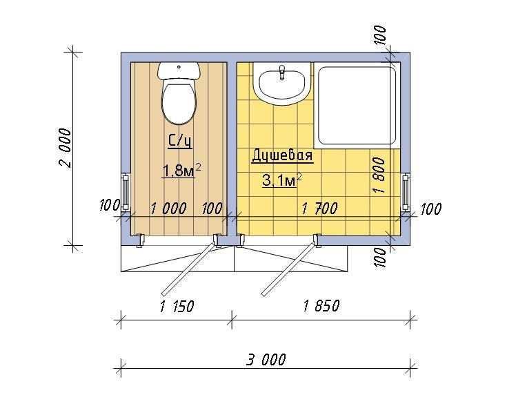 Как построить туалет с хозблоком на даче своими руками размеры чертежи 41